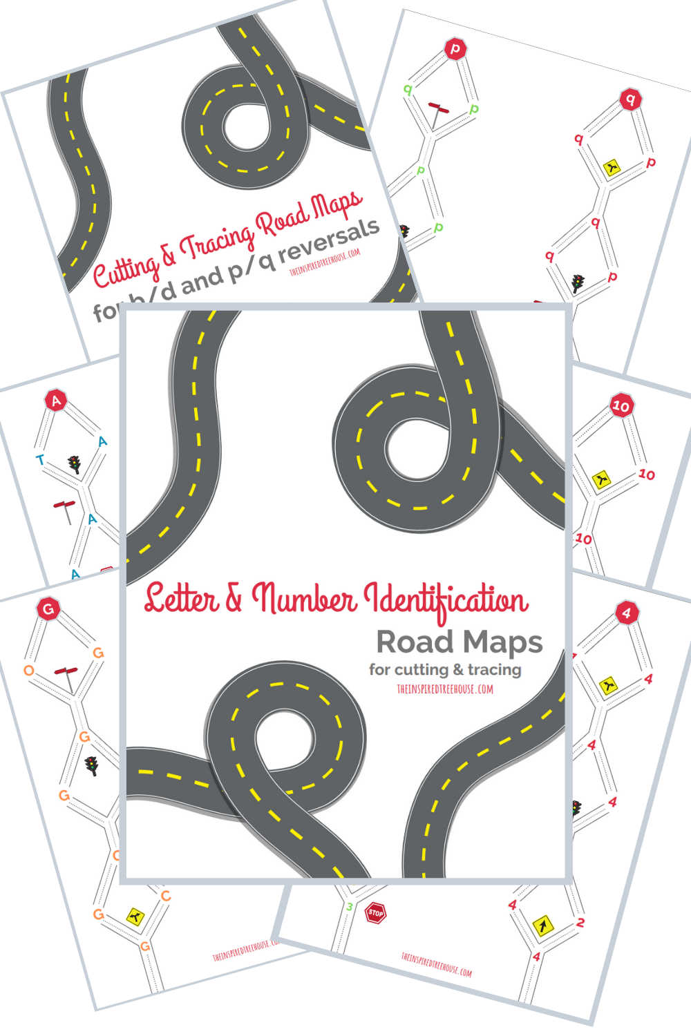 Letter & Number Identification Cutting Practice Road Maps