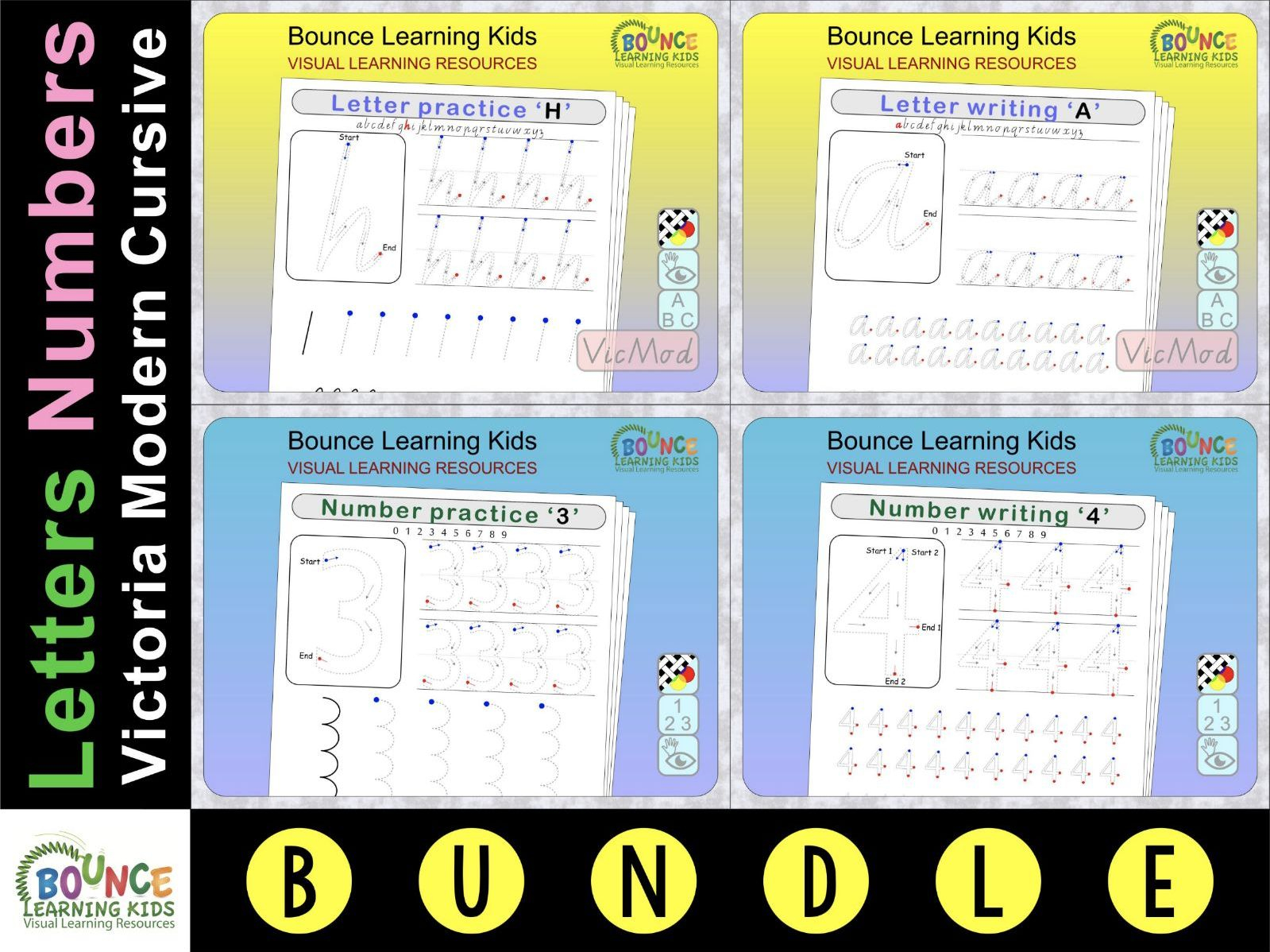 Letter & Number Writing Practice (Vic Modern Cursive)