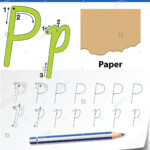 Letter P Tracing Alphabet Worksheets Illustration Stock