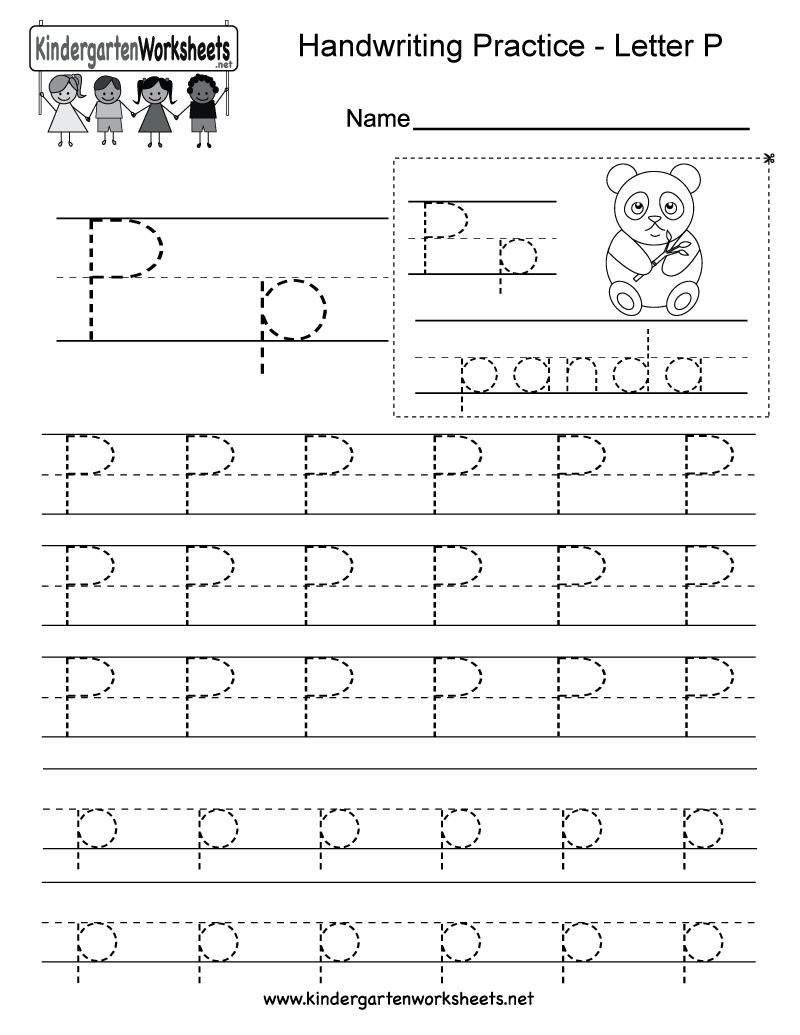 Letter P Writing Practice Worksheet - Free Kindergarten