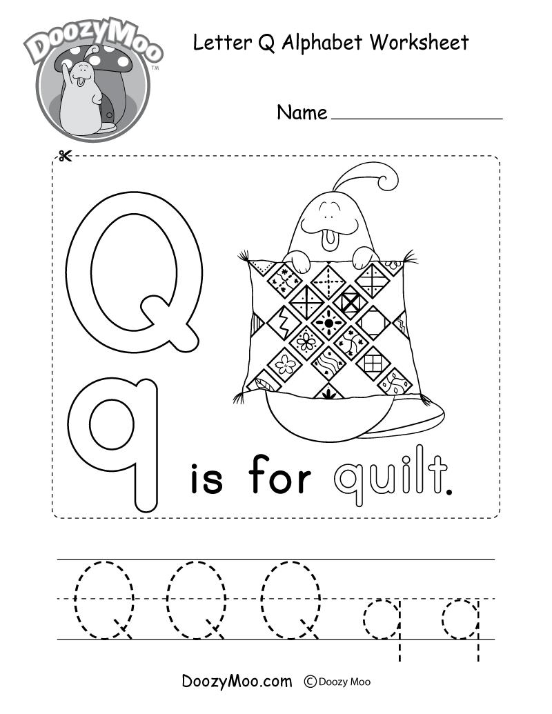 Letter Q Alphabet Activity Worksheet - Doozy Moo