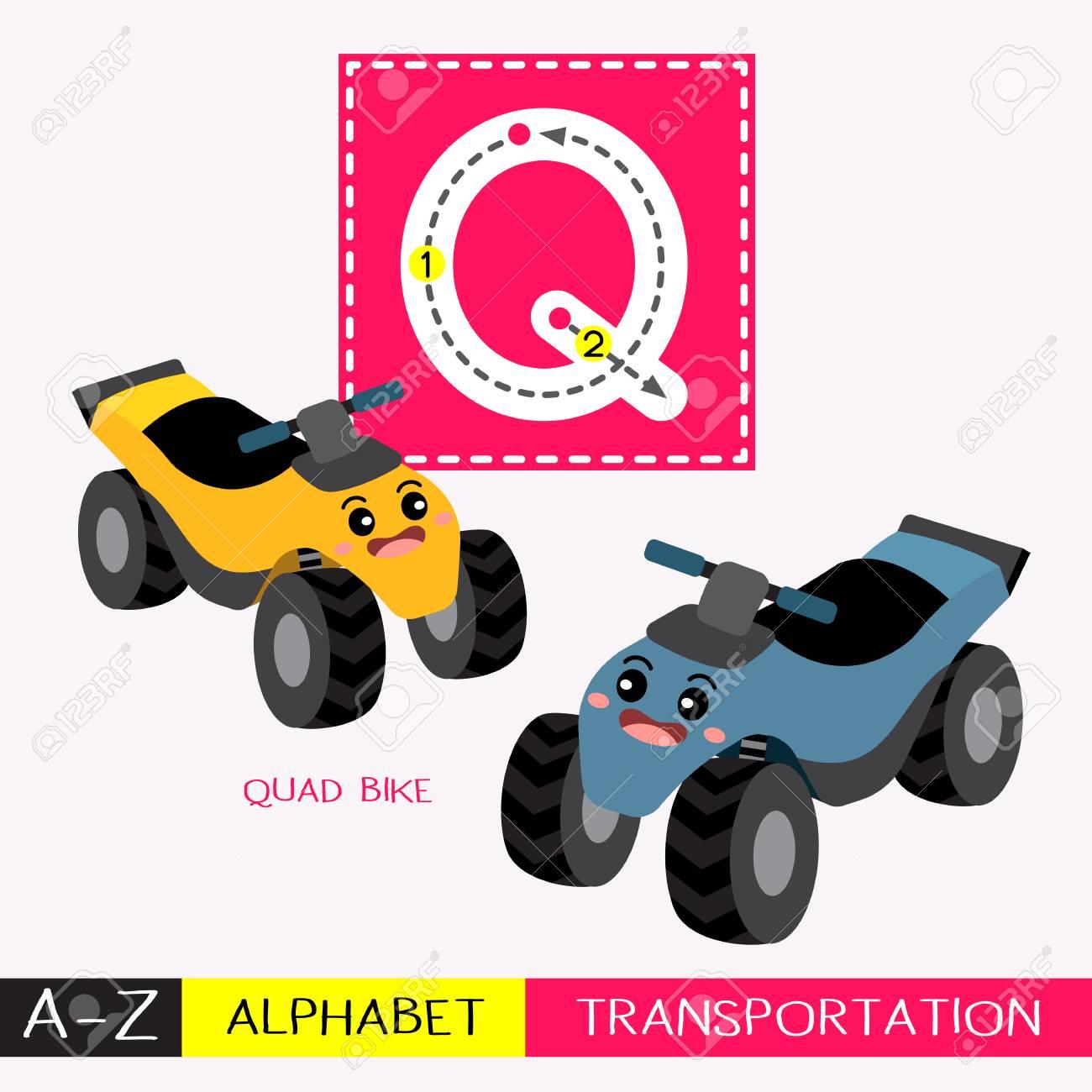 Letter Q Uppercase Children Colorful Transportations Abc Alphabet..