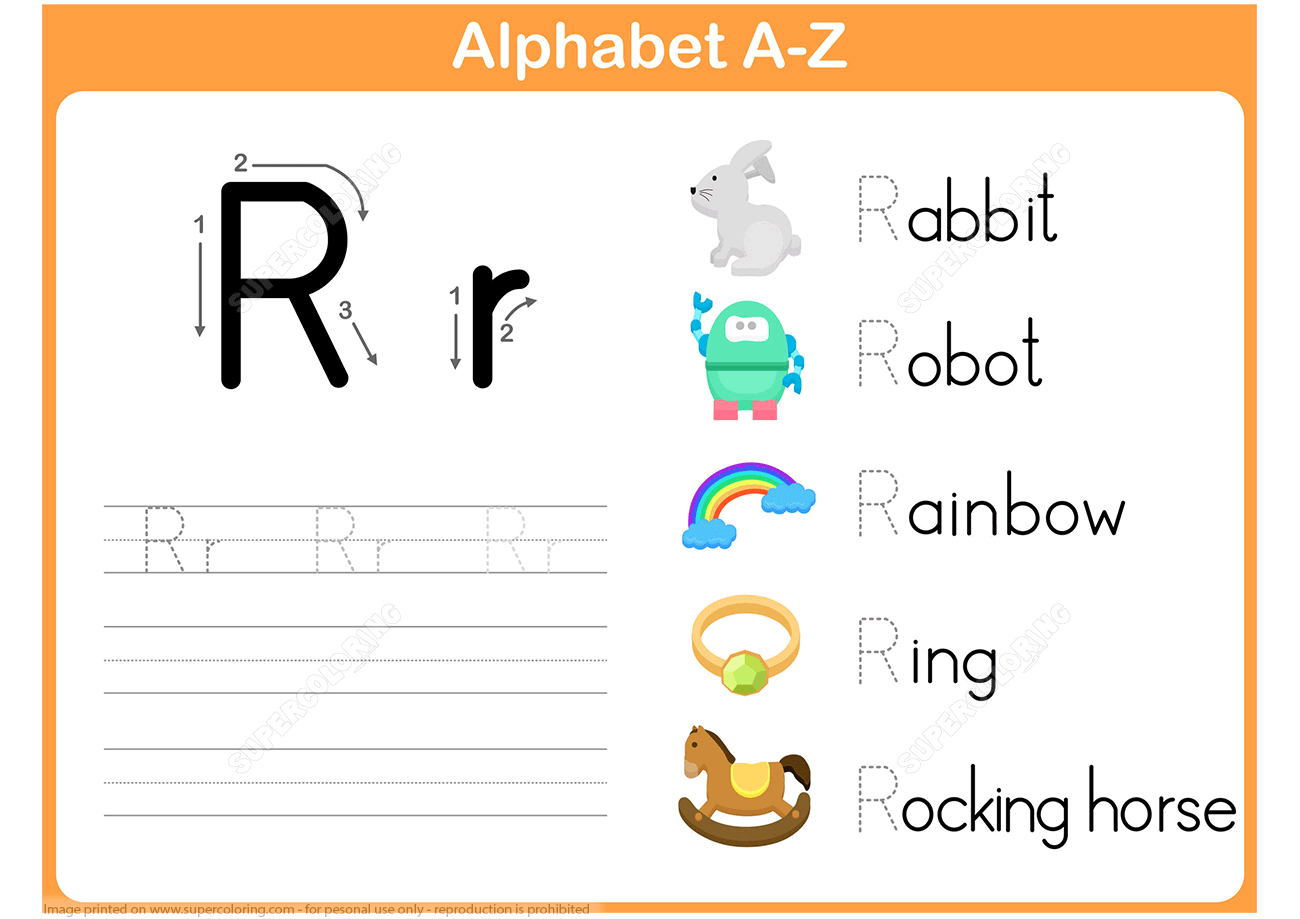 Letter R Tracing Worksheet | Free Printable Puzzle Games