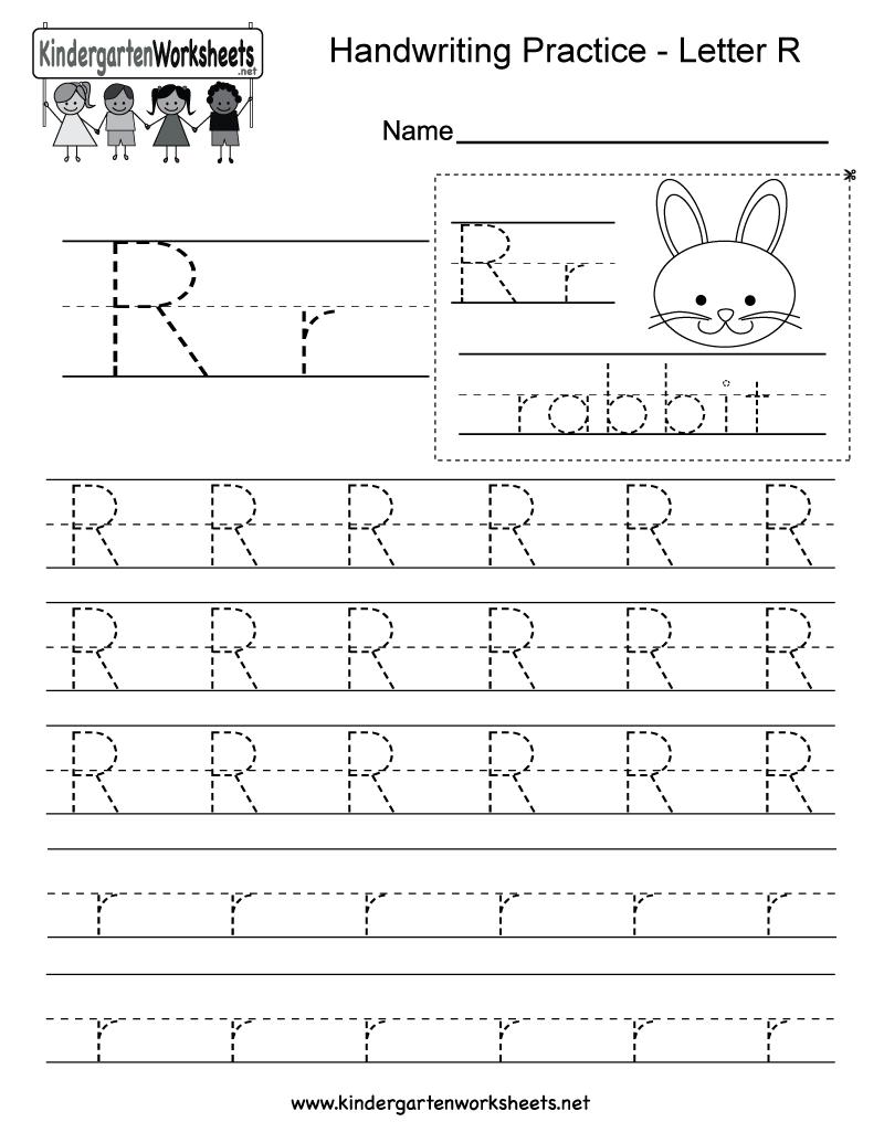 Letter R Writing Worksheet For Kindergarten Kids. This