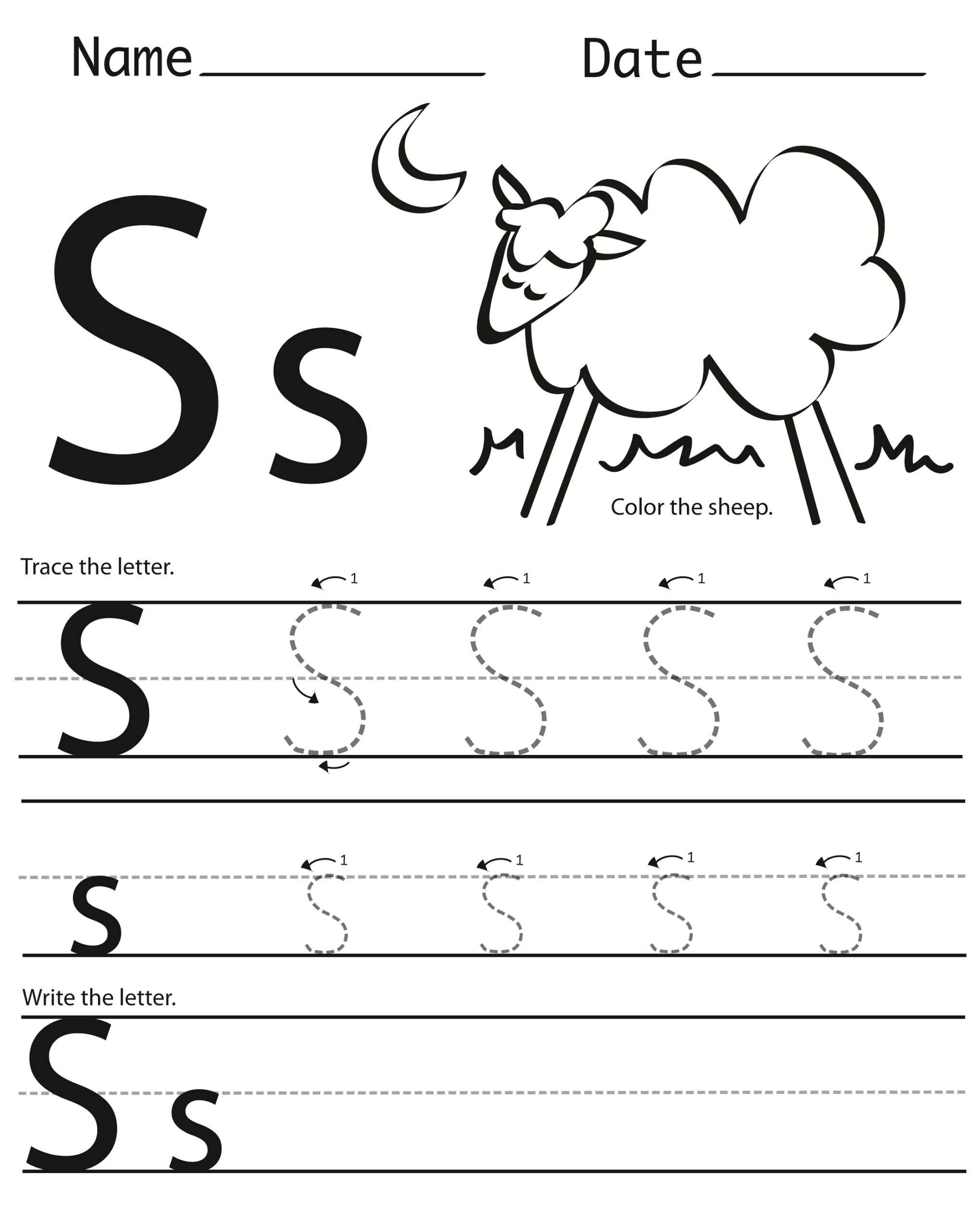 Letter S Worksheets Printable | Activity Shelter
