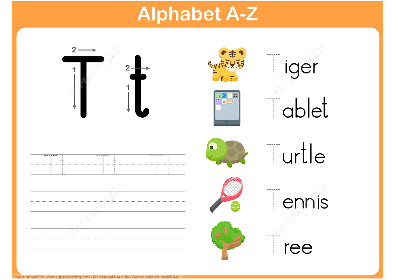 Letter T Tracing Worksheet | Free Printable Puzzle Games