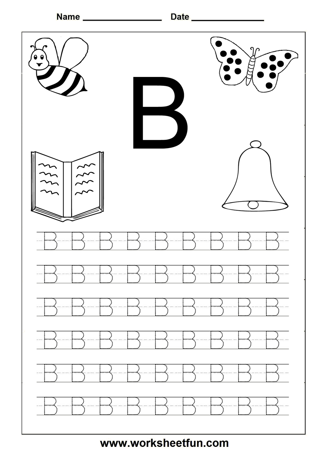 Letter Tracing: Letter B Worksheet | Handwriting Worksheets