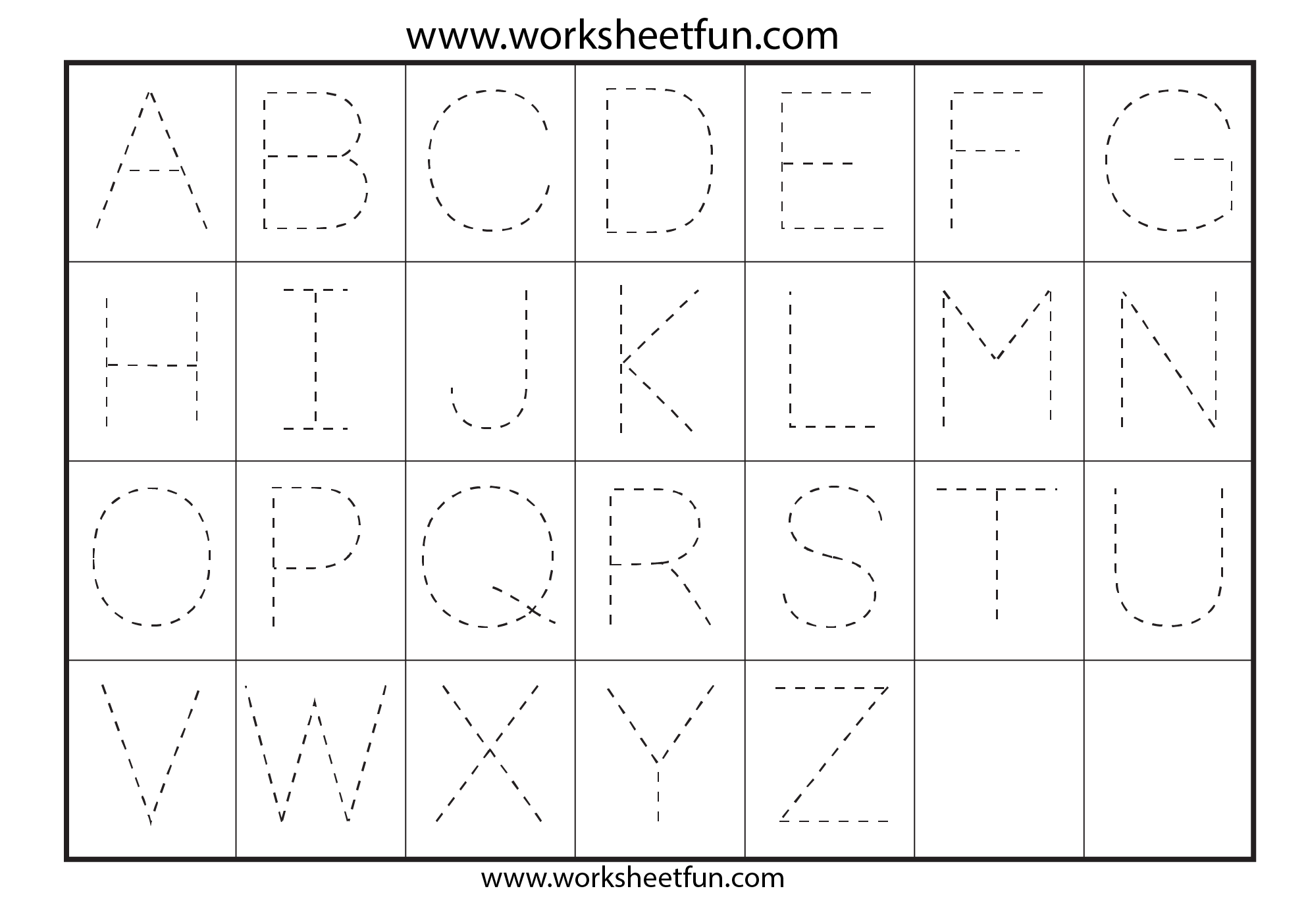 Letter Tracing Worksheets For Kindergarten - Capital Letters
