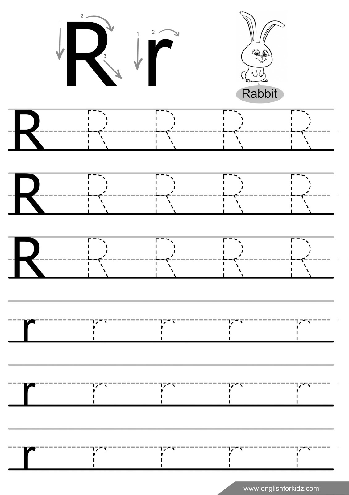 Letter Tracing Worksheets For Preschool R. Letter. Best … – Prnt