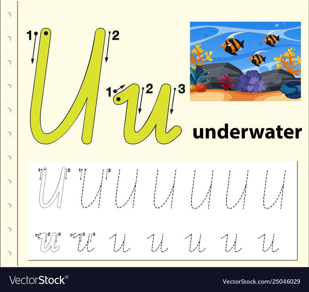 Letter U Tracing Alphabet Worksheets