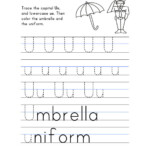 Letter U Worksheet – Tracing And Handwriting