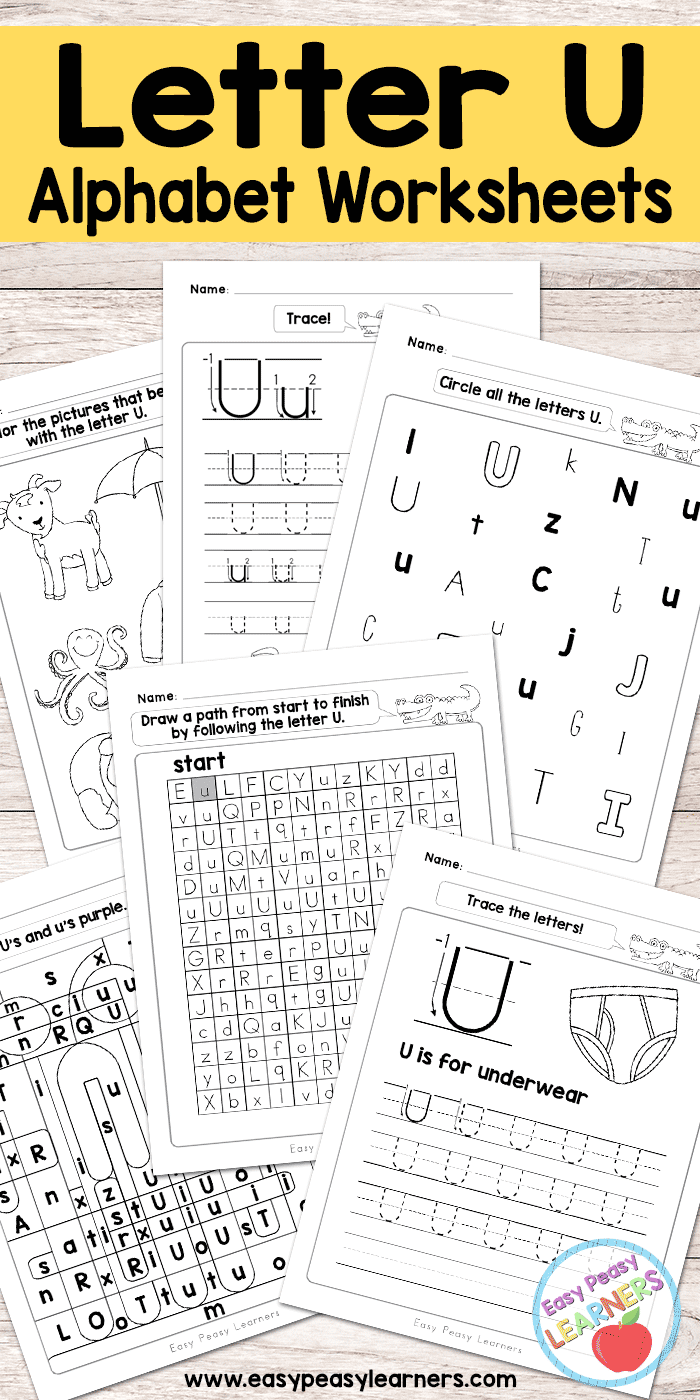 Letter U Worksheets - Alphabet Series - Easy Peasy Learners