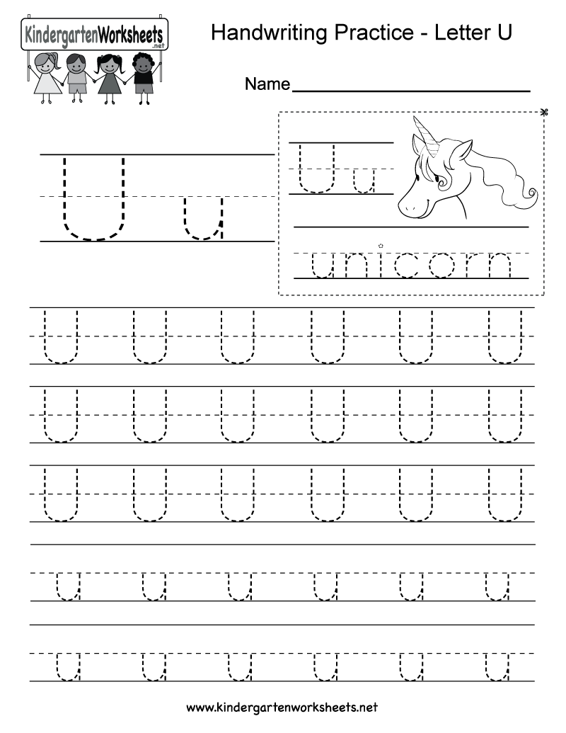 Letter U Writing Practice Worksheet - Free Kindergarten