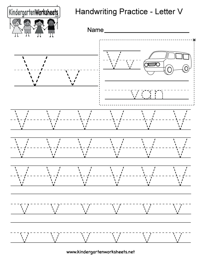 Letter V Handwriting Worksheet For Kindergarteners. You Can