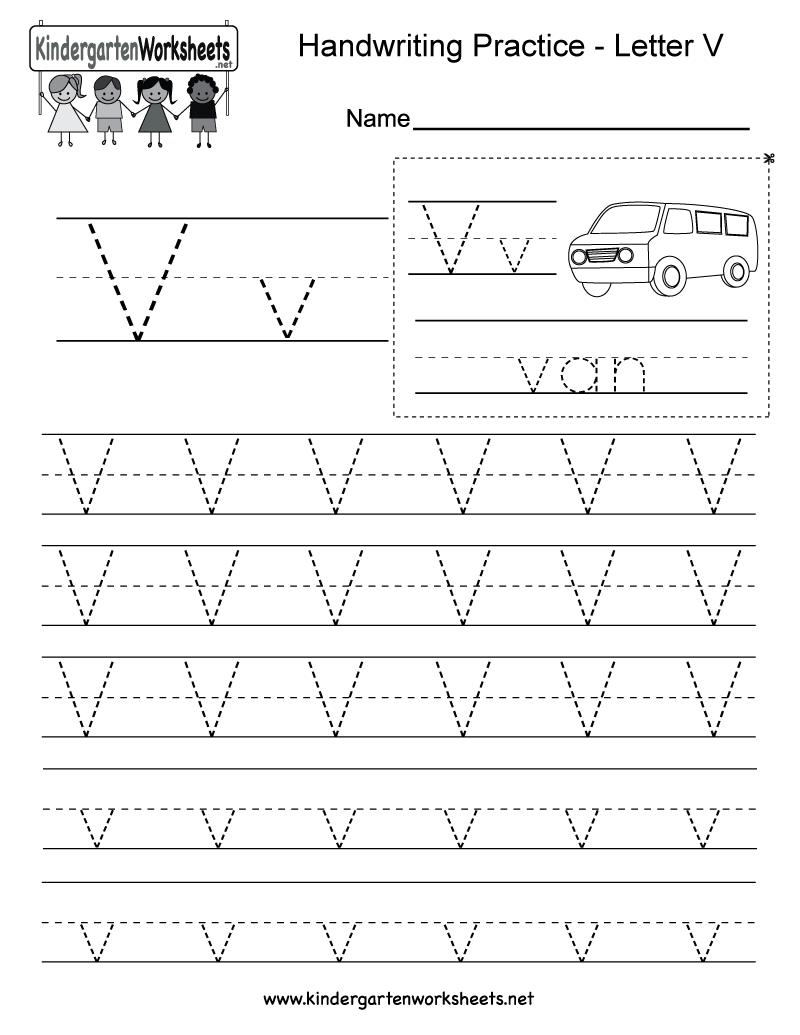Letter V Handwriting Worksheet For Kindergarteners. You Can