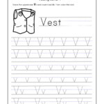 Letter V Worksheets For Kindergarten – Trace Dotted Letters