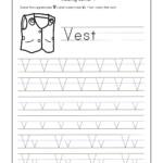 Letter V Worksheets For Kindergarten – Trace Dotted Letters