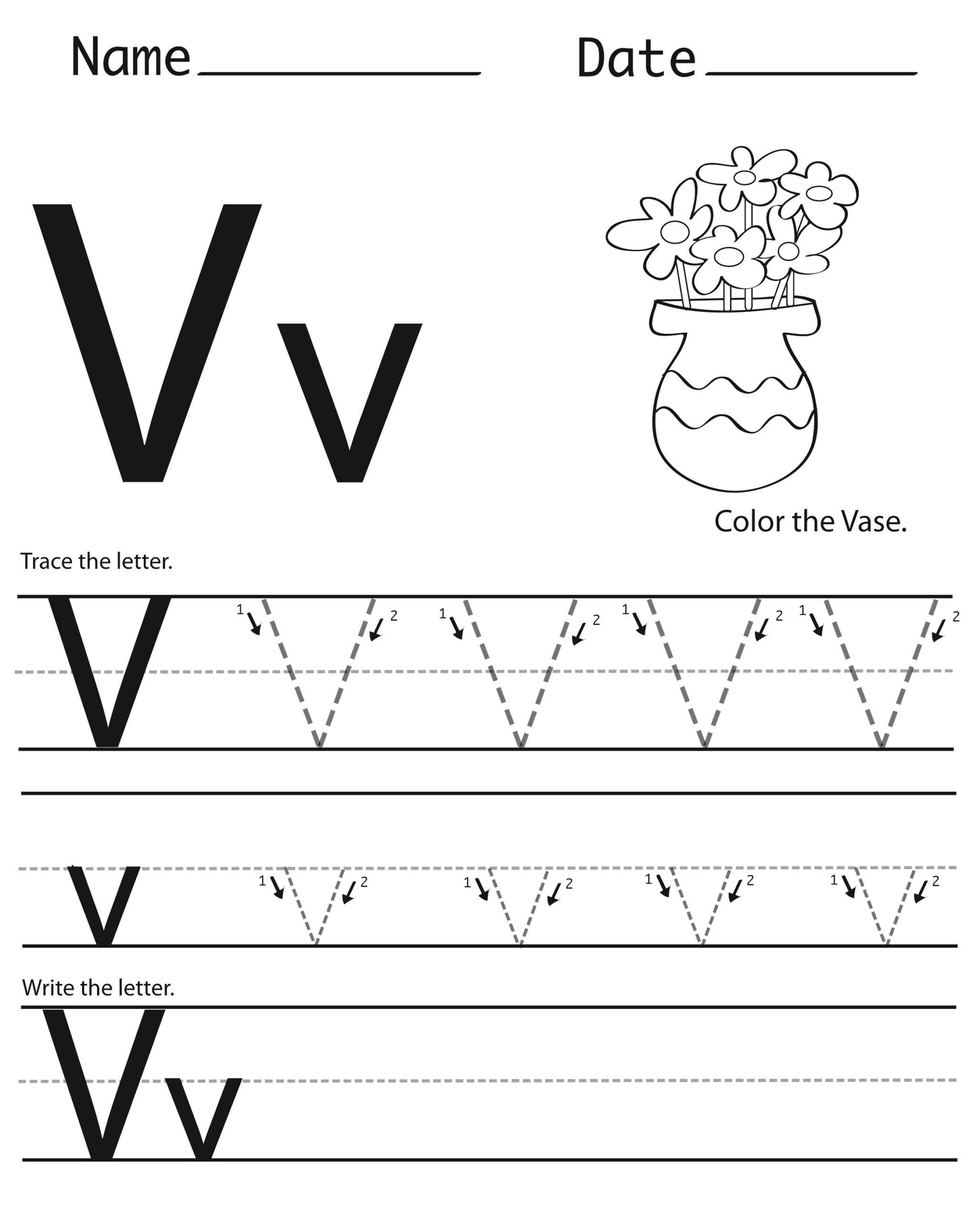 Letter V Worksheets To Print | Activity Shelter