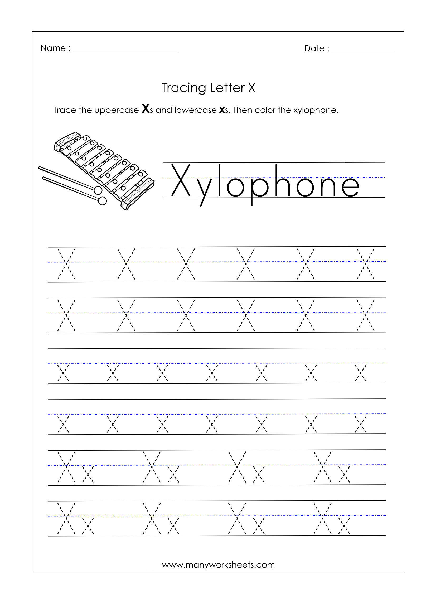 Letter X Worksheets For Kindergarten – Trace Dotted Letters