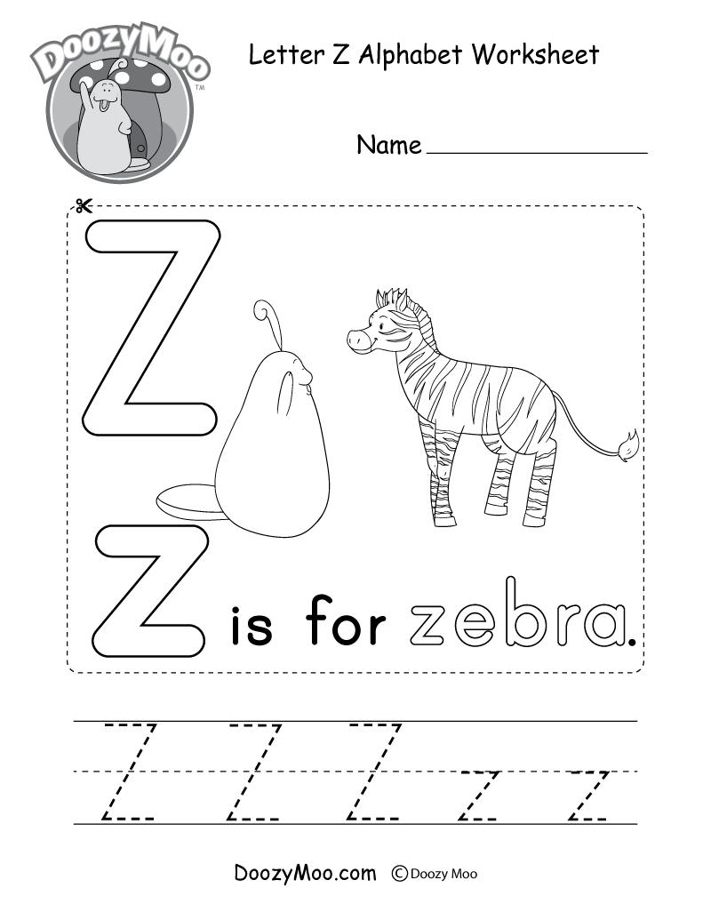 Letter Z Alphabet Activity Worksheet - Doozy Moo