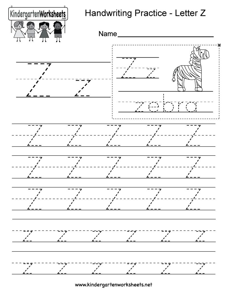Letter Z Writing Practice Worksheet - Free Kindergarten