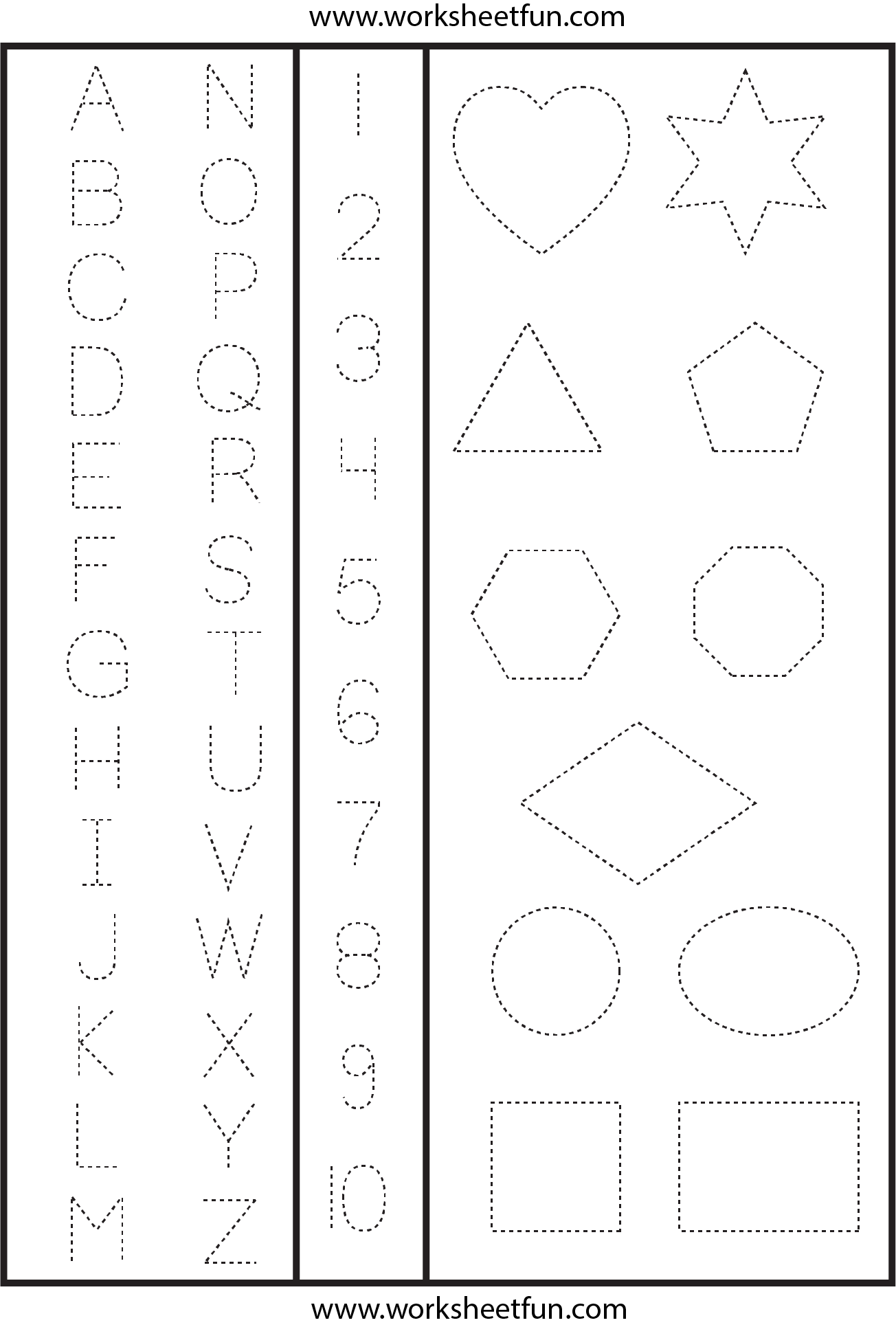 Letters Numbers & Shapes Tracing Worksheet | Shape Tracing
