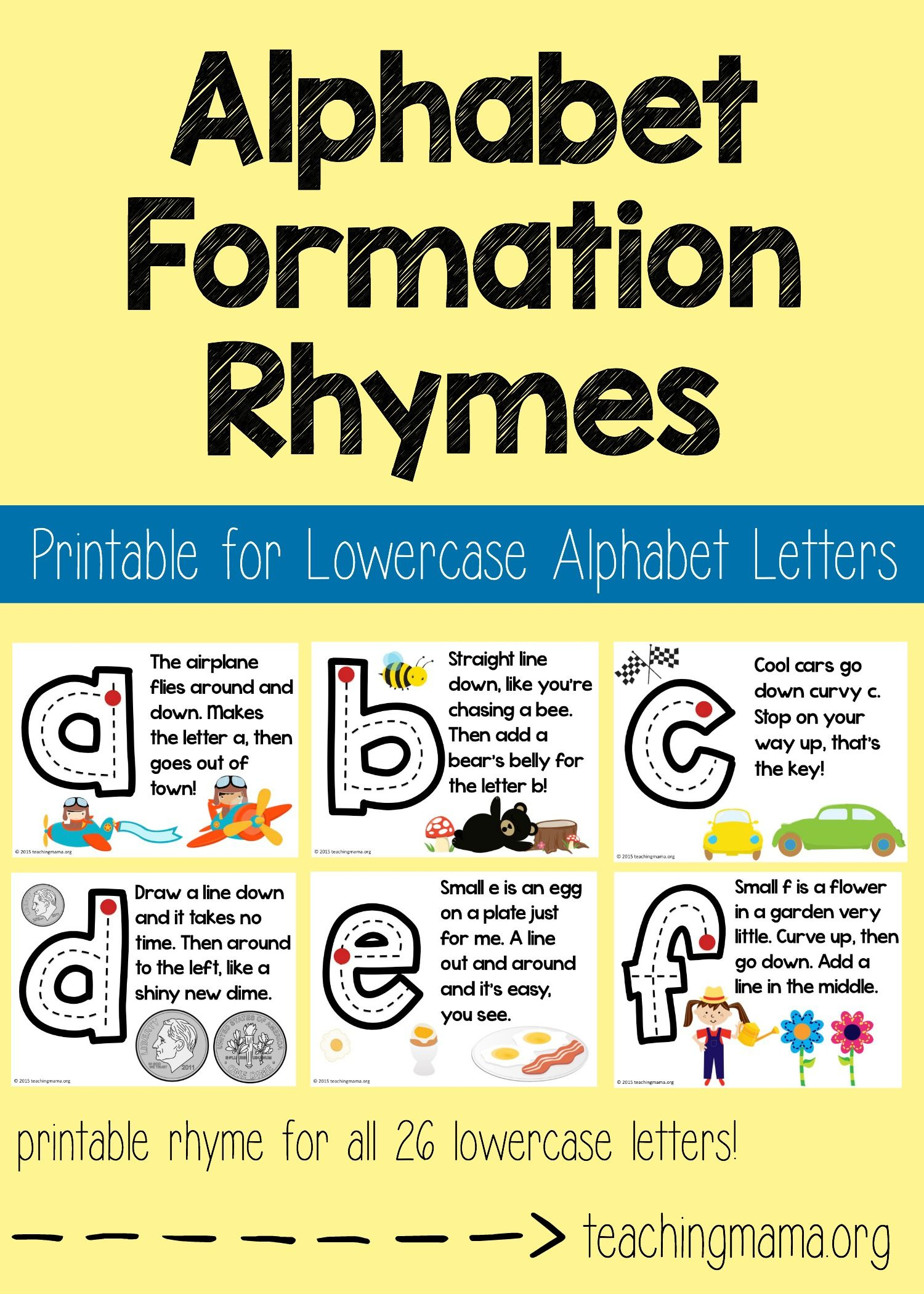 Lowercase Alphabet Formation Rhymes | Teaching The Alphabet