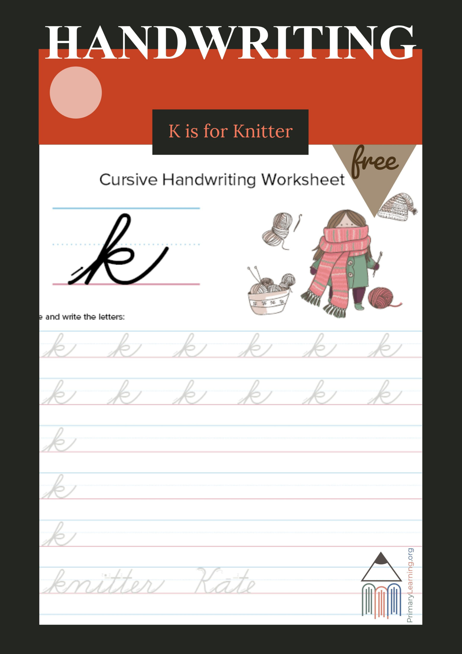 Lowercase Cursive K Worksheet | Free Homeschool Resources
