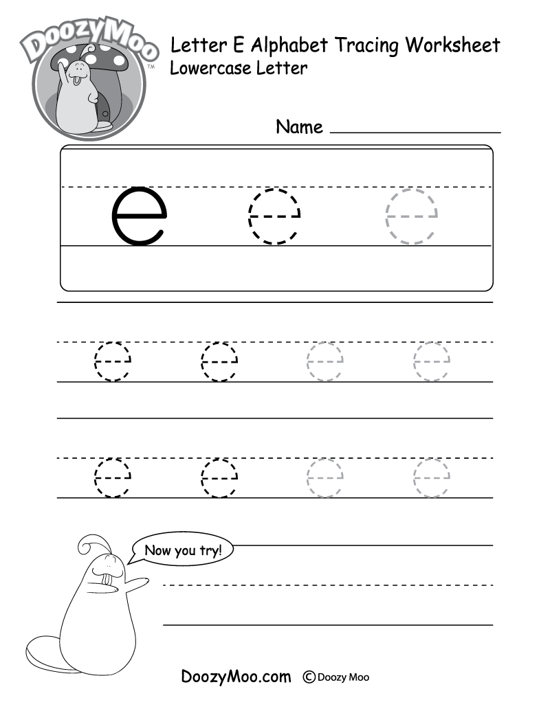 """Lowercase Letter """"e"""" Tracing Worksheet - Doozy Moo"""