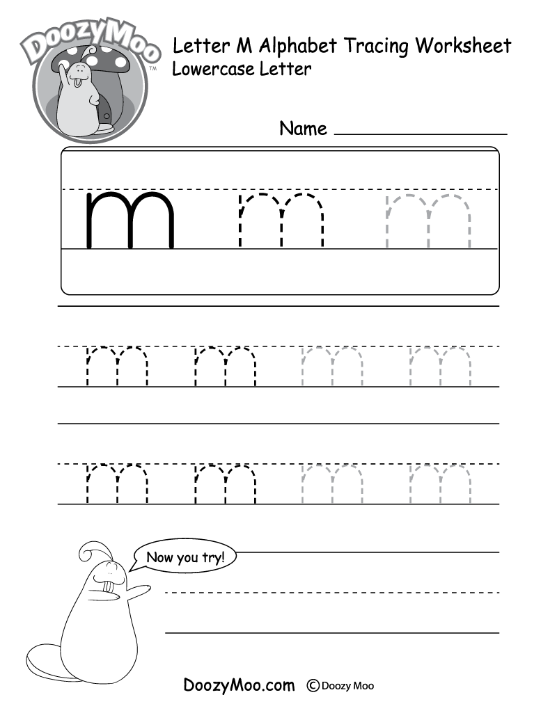 "Lowercase Letter ""m"" Tracing Worksheet - Doozy Moo"