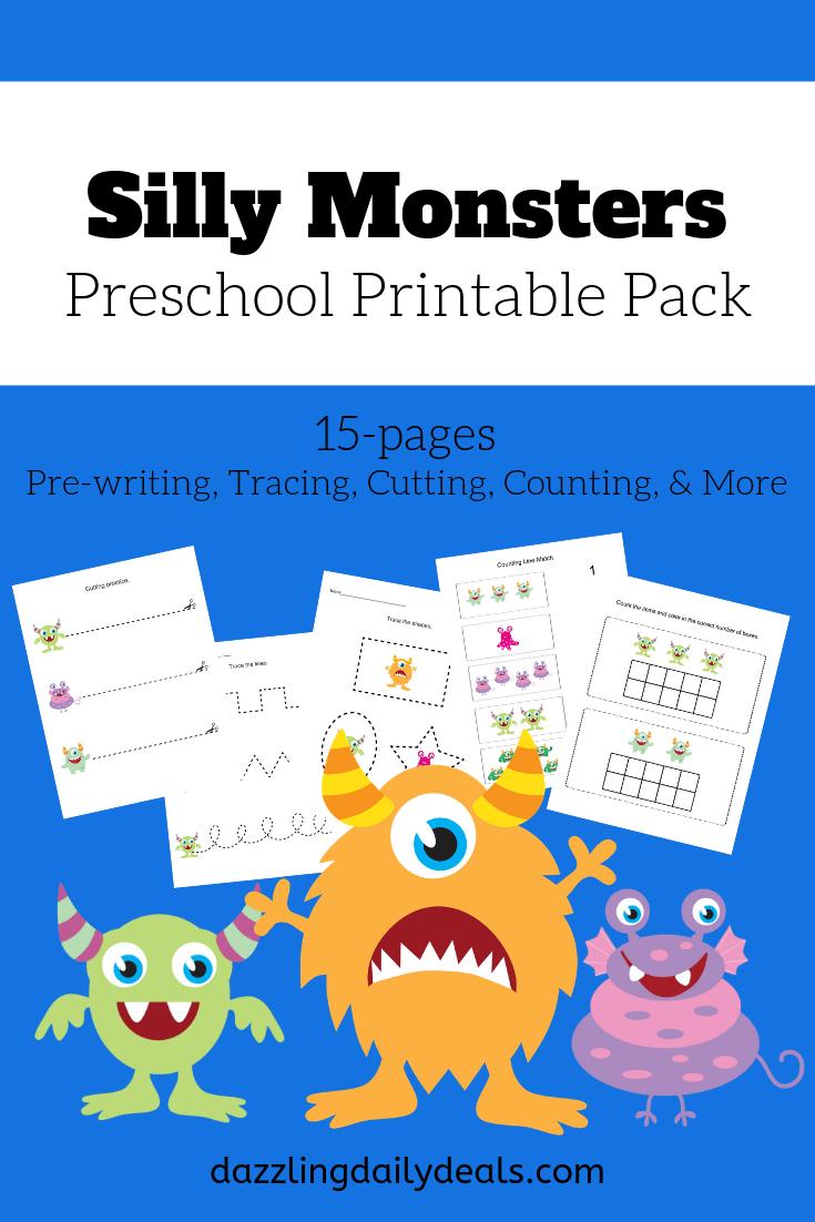 Monster Preschool Printables - Number-Tracing Worksheets Pdf