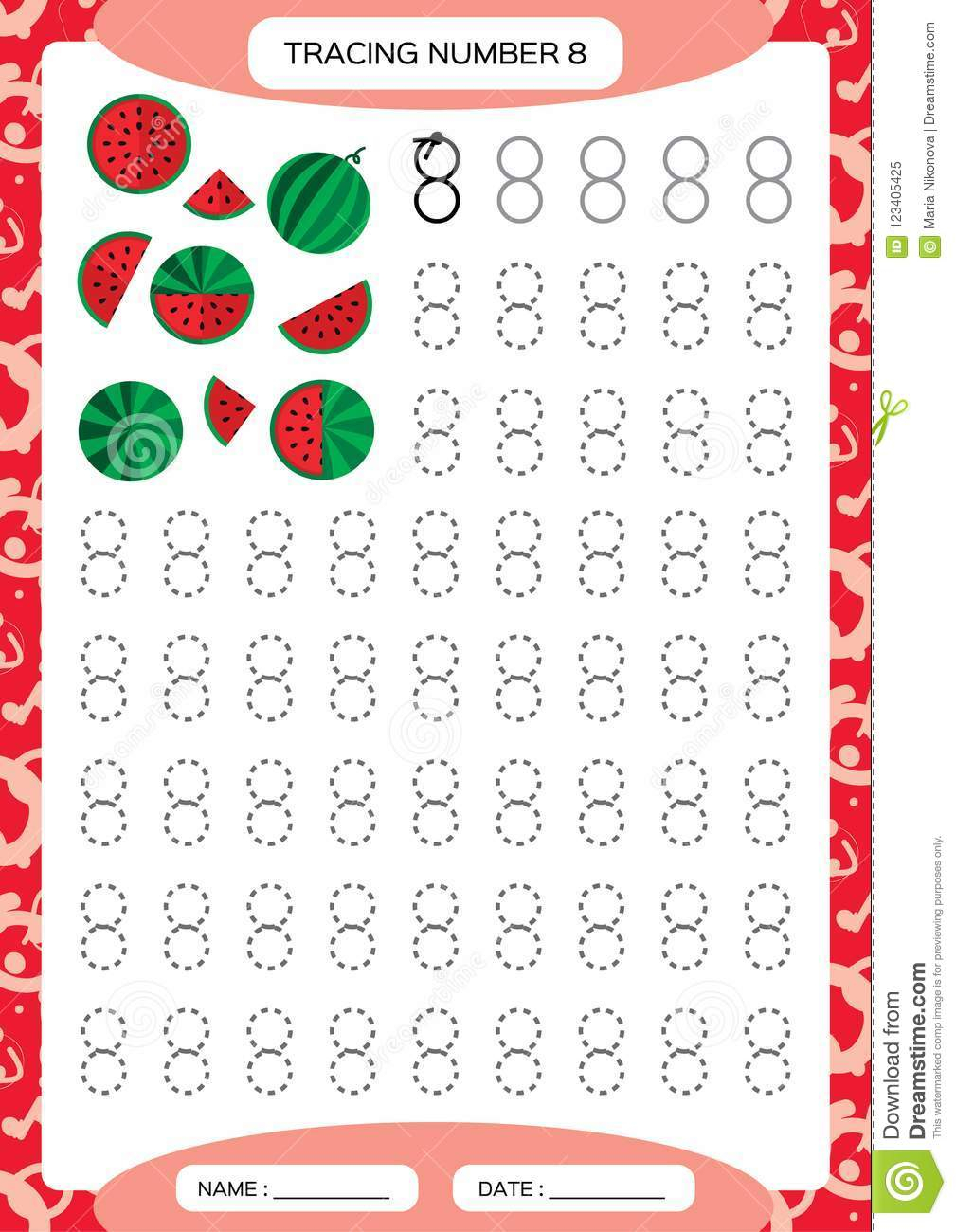 Number 8. Eight . Tracing Worksheet For Kids. . Watermelon