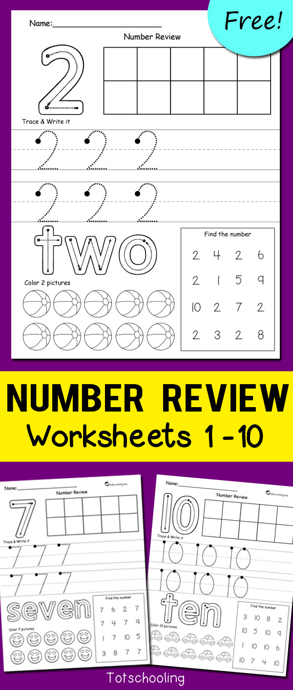 Number Review Worksheets | Totschooling - Toddler, Preschool