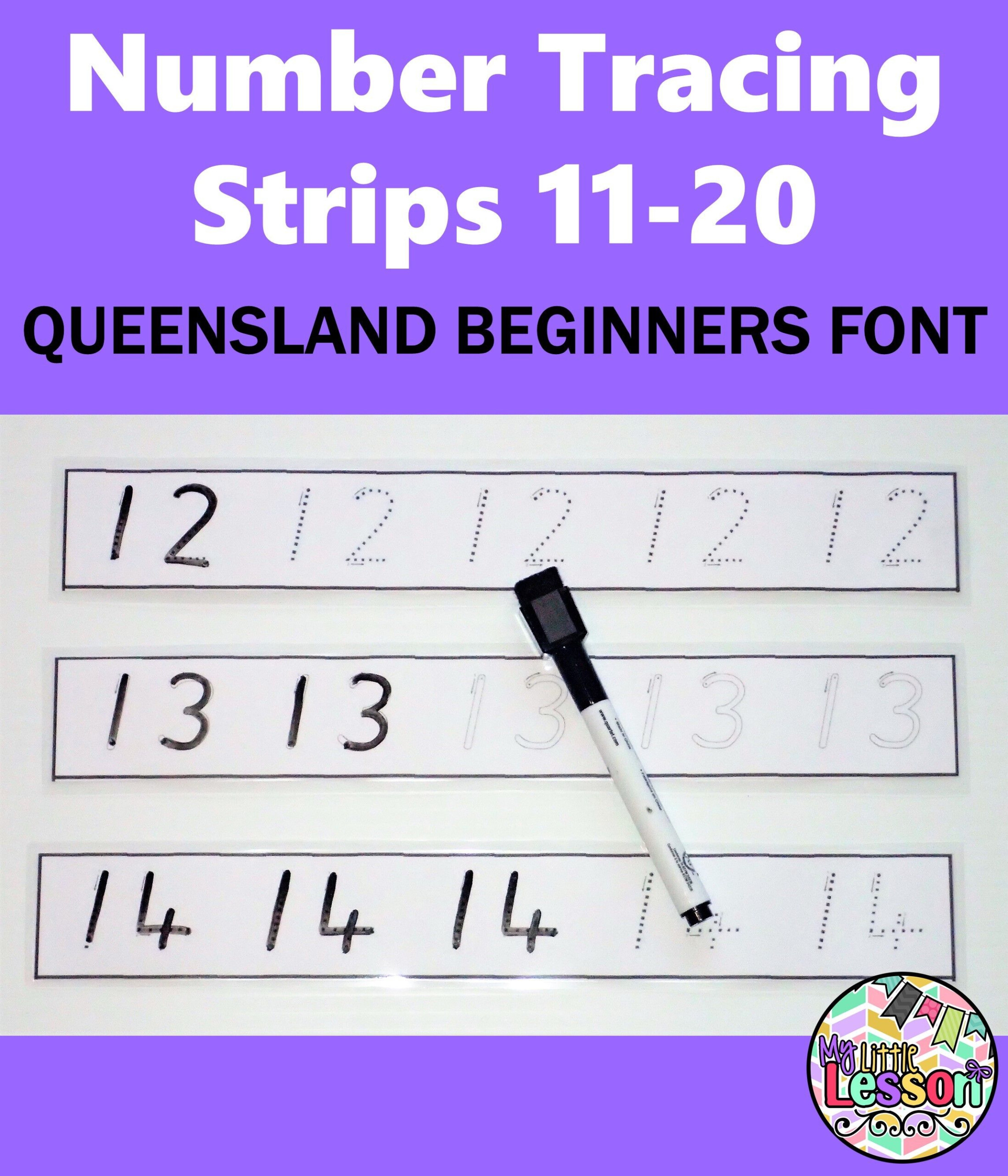 Number Tracing Strips 11-20 Qld Beginners Font | Teaching