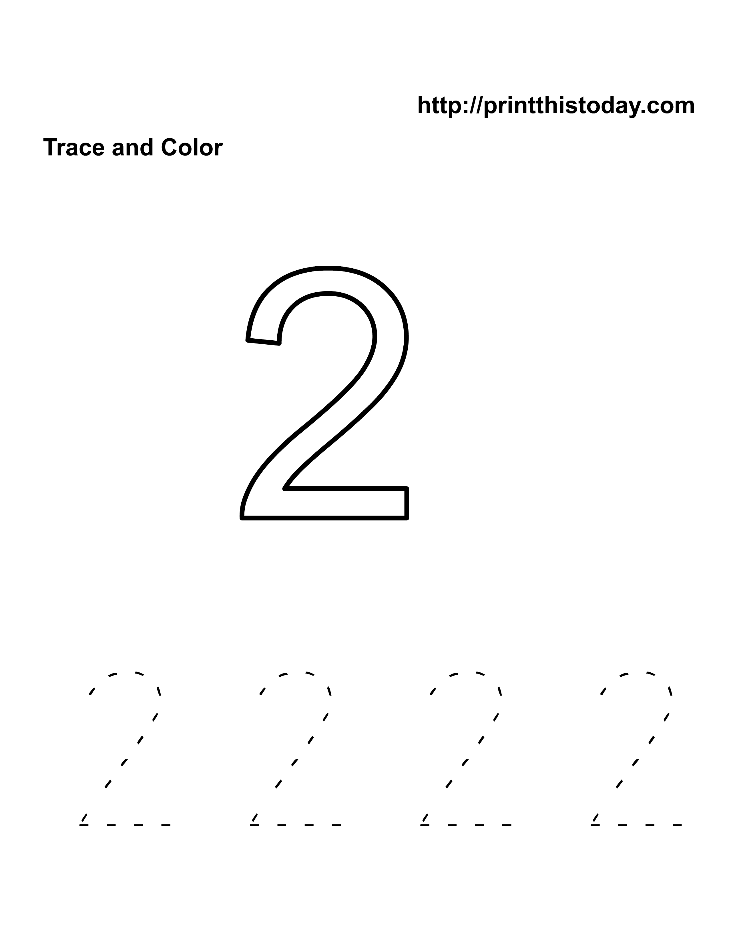 Number Two Tracing And Coloring Worksheets (2) | Crafts And