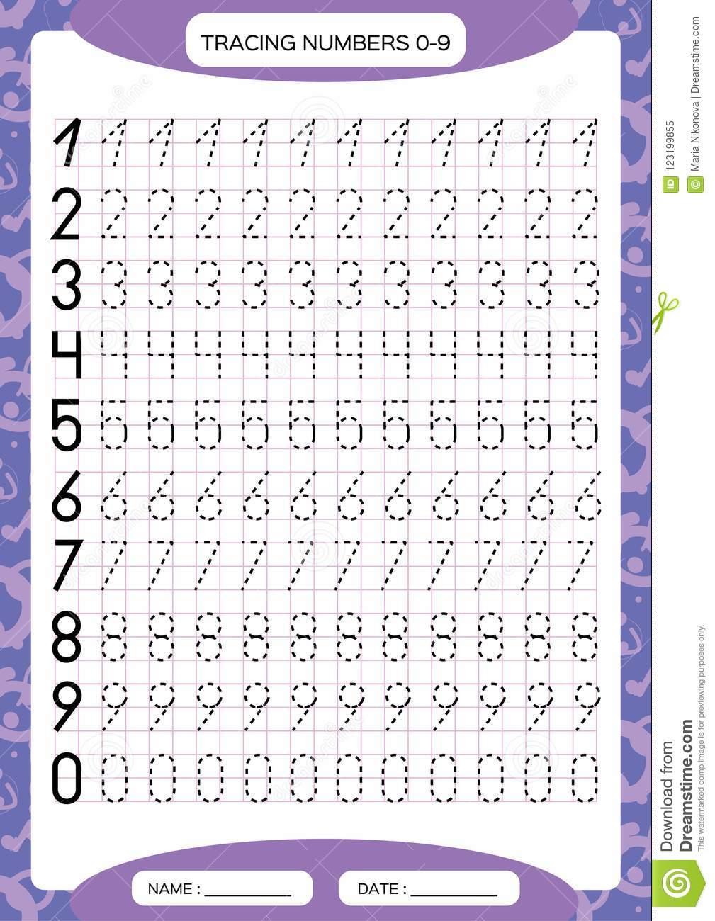 Numbers 0-9. Tracing Worksheet For Kids. Preschool Worksheet
