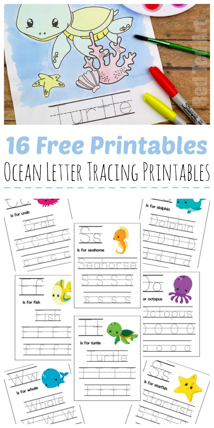 Ocean Letter Tracing Sheets - Red Ted Art - Make Crafting