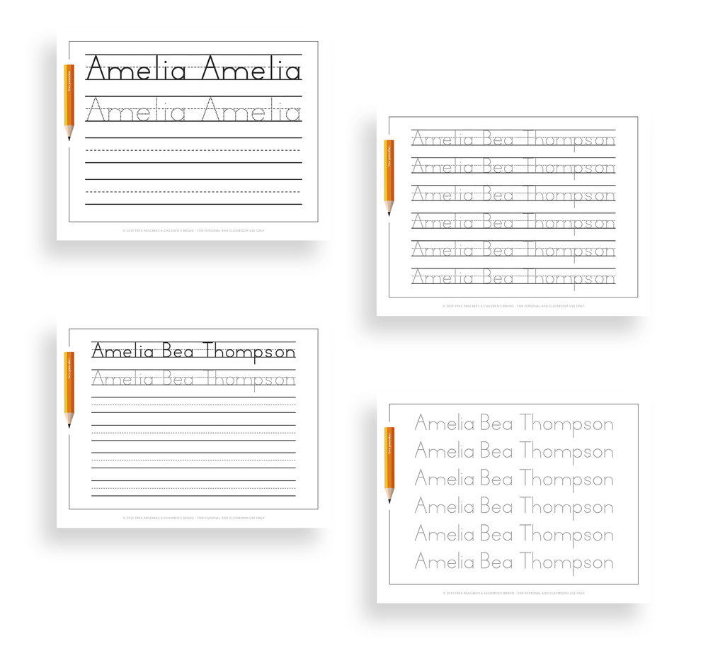 Personalized Name Tracing Worksheets — Free Pancakes A Children's Brand