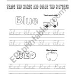 Practicing The Colorstracing The Words - Esl Worksheet
