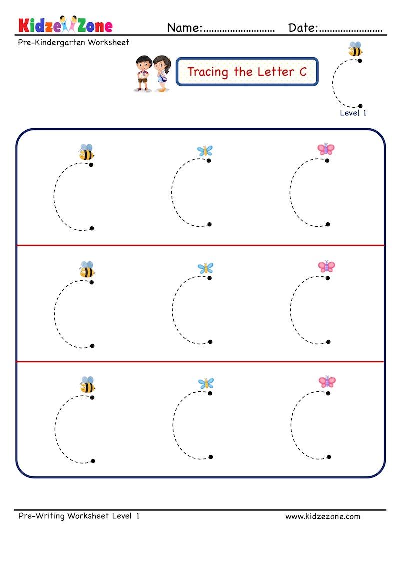 Preschool Letter Tracing Worksheet - Letter C, Level 1