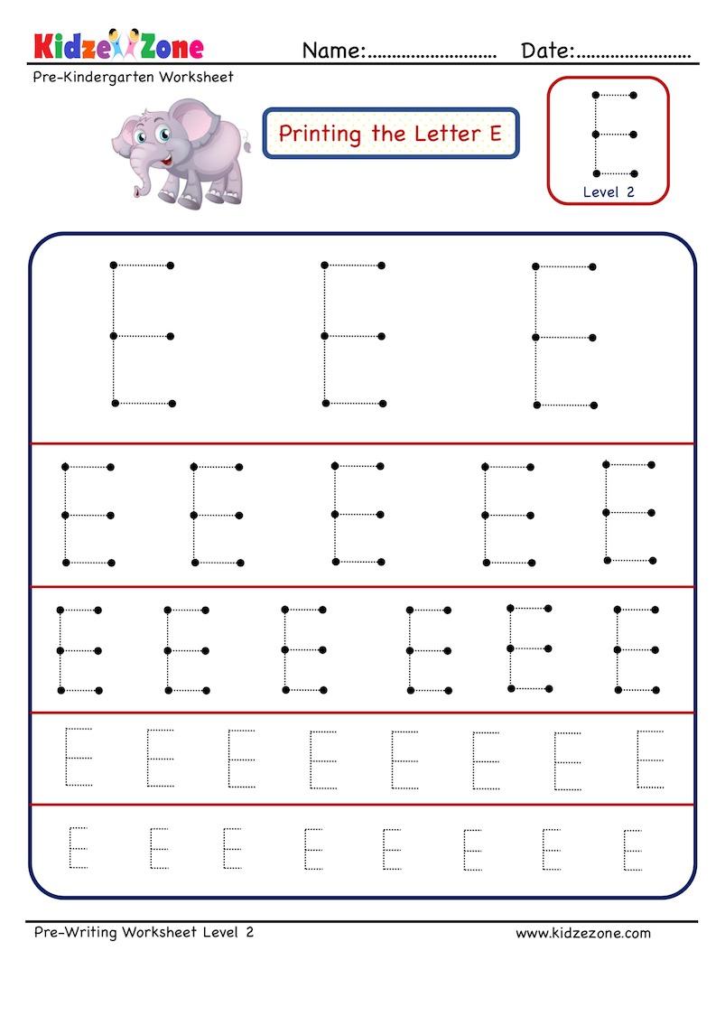 Preschool Letter Tracing Worksheet - Letter E Different