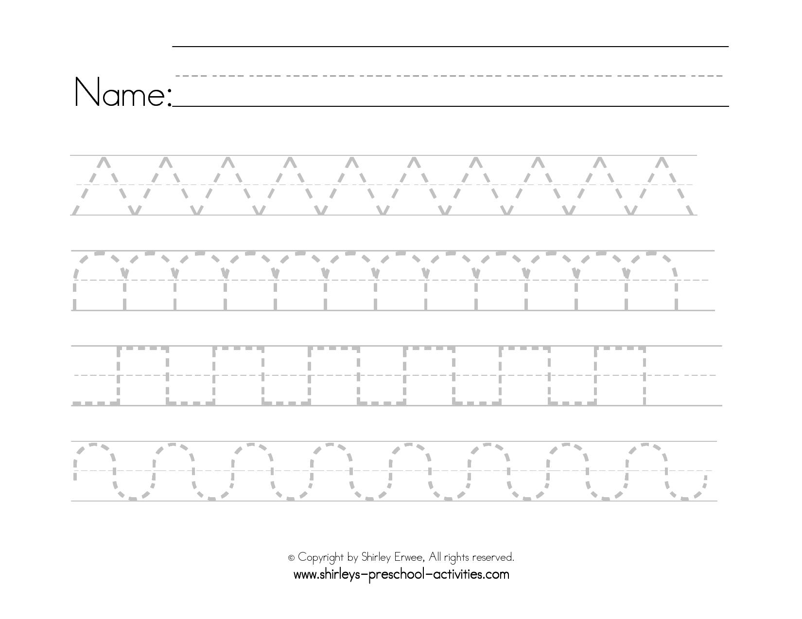 Preschool Printable Writing Patterns | Writing Worksheets