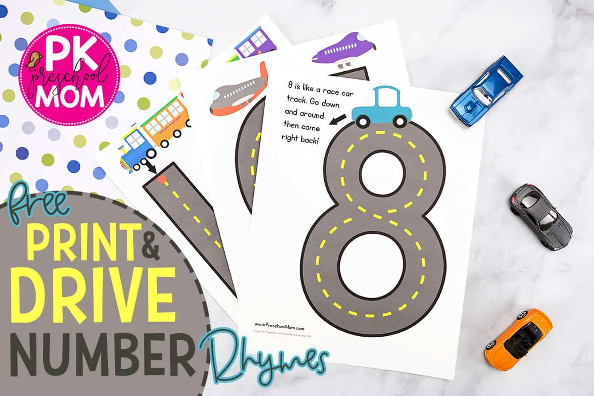 Print & Drive Number Rhyme Mats - Preschool Mom