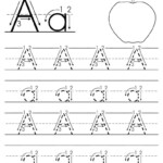 Printable Letter A Tracing Worksheet With Number And Arrow
