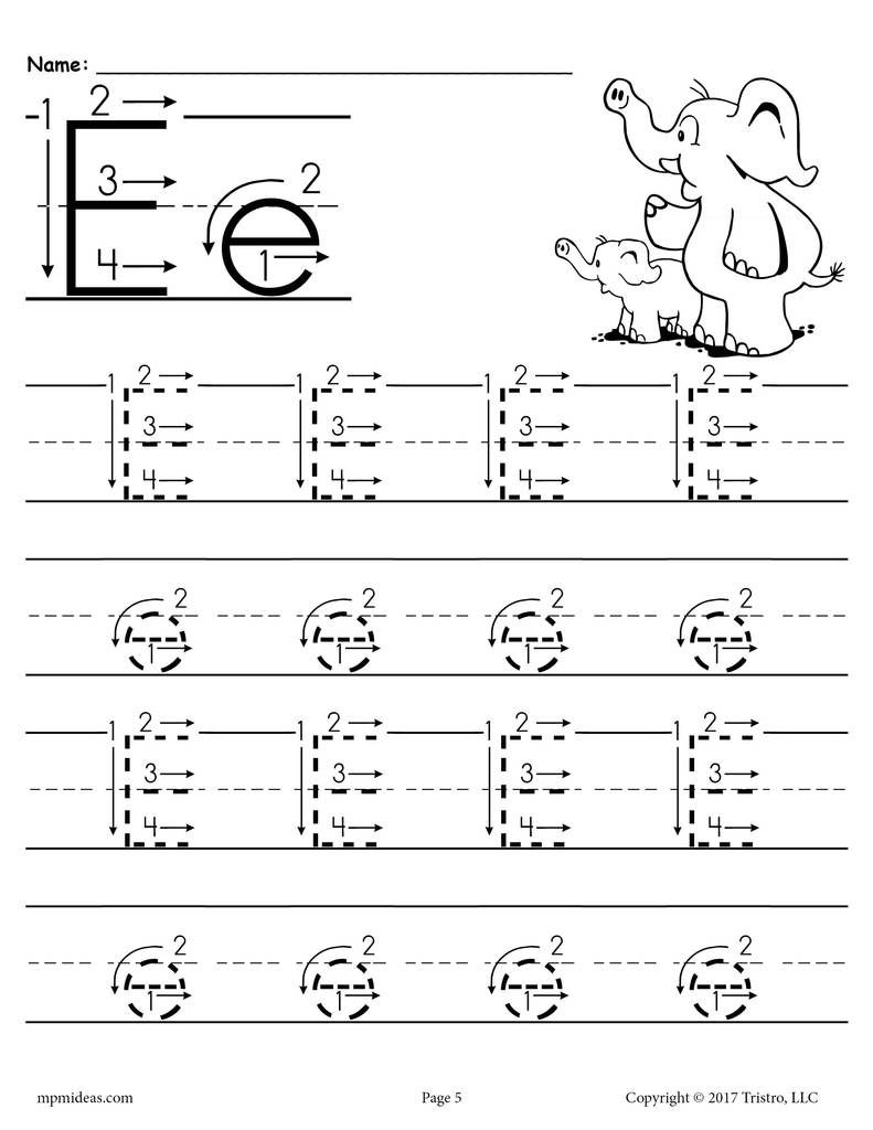 Printable Letter E Tracing Worksheet With Number And Arrow