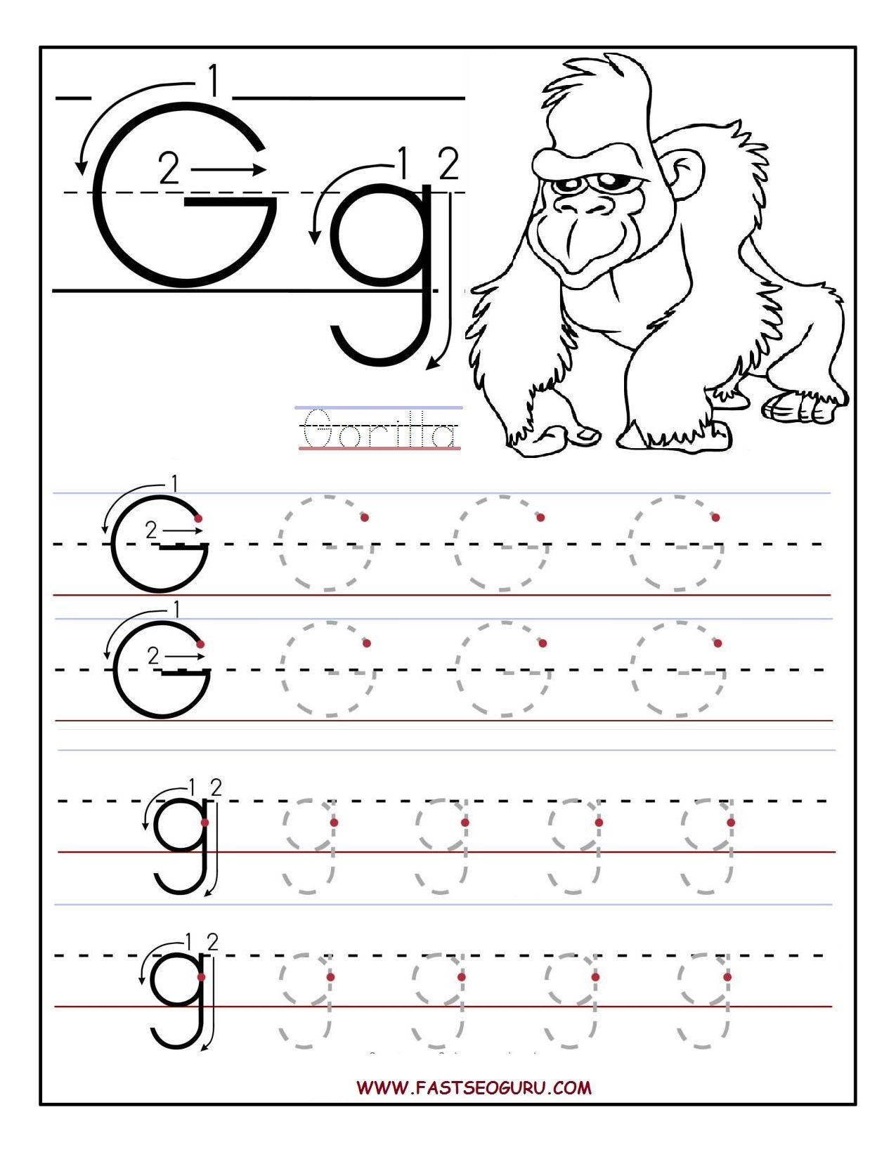 Printable Letter G Tracing Worksheets For Preschool | 파닉스