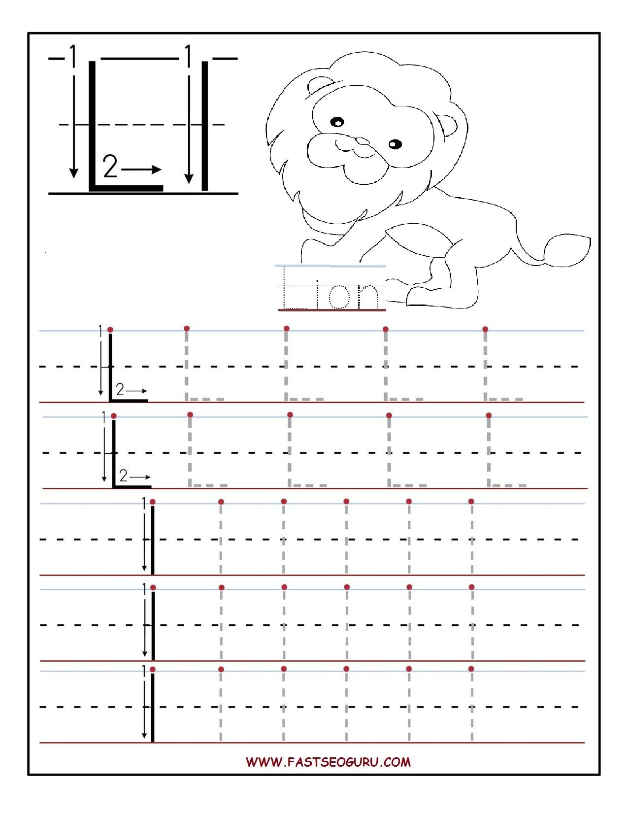 Printable Letter L Tracing Worksheets For Preschool