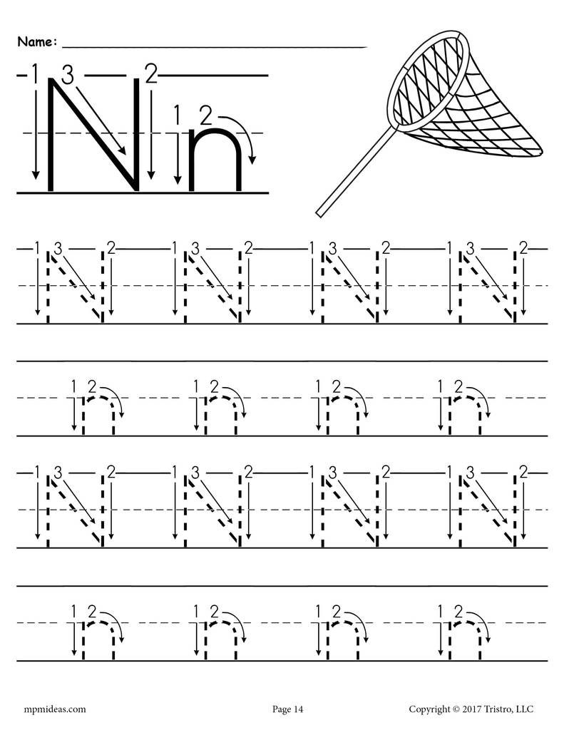 Printable Letter N Tracing Worksheet With Number And Arrow