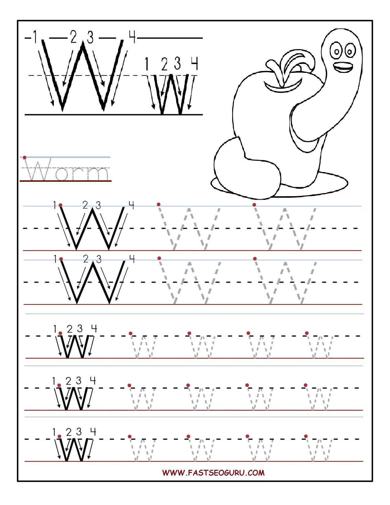 Printable Letter W Tracing Worksheets For Preschool