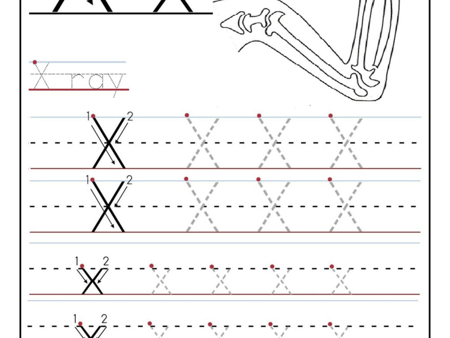 Printable Letter X Tracing Worksheets For Preschool